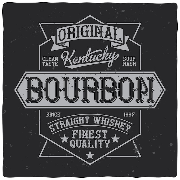 Vintage style bourbon whiskey label with editable ornate text retro stars and ribbons