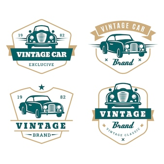 Vintage style car logo collection