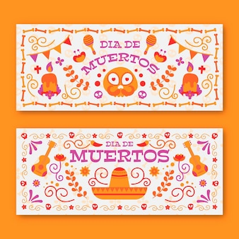 Vintage style day of the dead banners