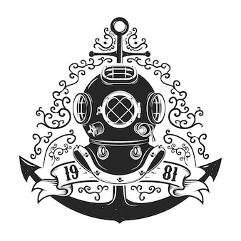 Vintage style diver helmet with anchor isolated on white background. diving club or school emblem template.