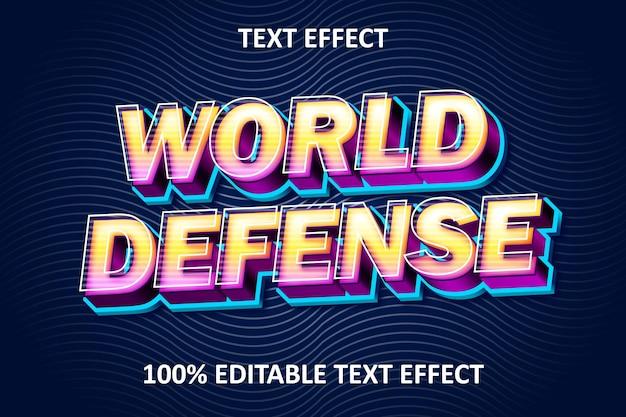 빈티지 스타일 편집 가능한 텍스트 효과 world defense