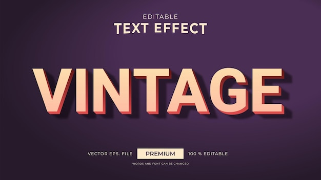 Vintage style editable text effects