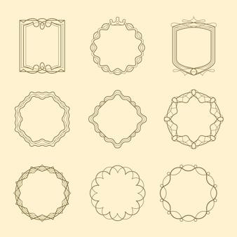 Vintage style emblems frames set