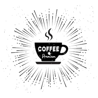 Vintage style fashion logo of coffee shop on white background.