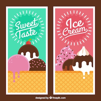 Vintage style flavors ice cream banners
