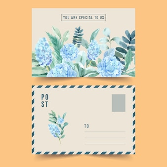 Vintage style floral charming postcard with hydrangea watercolor illustration.