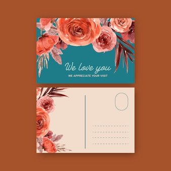 Vintage style floral ember glow postcard with warm toned color illustration.