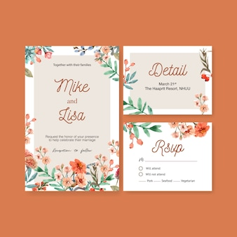 Vintage style floral ember glow wedding card with carnation watercolor illustration.