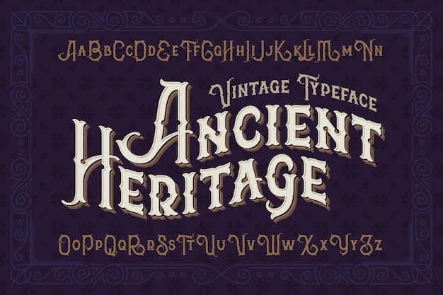 Vintage style font set with classic ornament