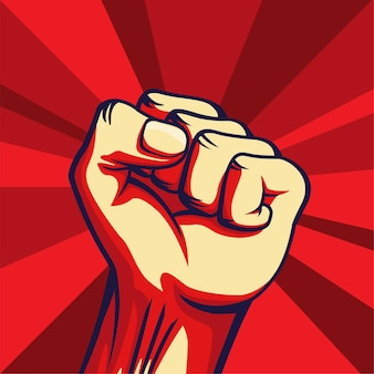 Vintage style freedom poster with raised fist of the striking man