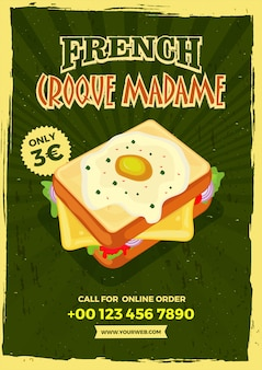 Vintage style french croque madame menu template