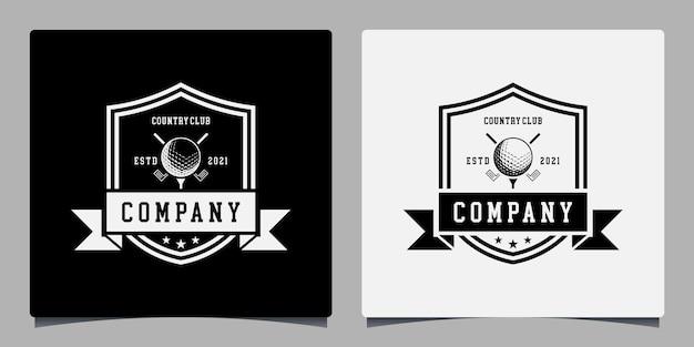 Шаблон дизайна логотипа гольфа в винтажном стиле или сообщество