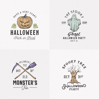 Vintage style halloween logos or labels template set. hand drawn evil pumpkin, ghost, spooky tree, broom and scythe sketch symbols collection with