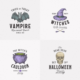 Vintage style halloween logos or labels template set. hand drawn vampire bat, scull, witch hat and cauldron sketch symbols collection.