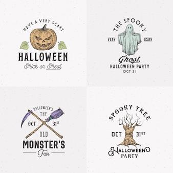 Винтажный стиль хэллоуин логотипы или набор шаблонов наклеек. нарисованная от руки злая тыква, призрак, жуткое дерево, коллекция символов эскиза метлы и косы с