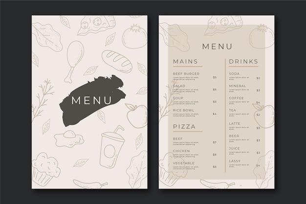 Vintage style healthy food menu