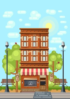 Vintage style high-rise building with a cafe on the ground floor. Premium Vector