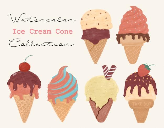 Винтажный стиль мороженого сладкое лето акварель текстуры