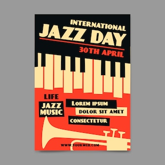 Vintage style international jazz day poster