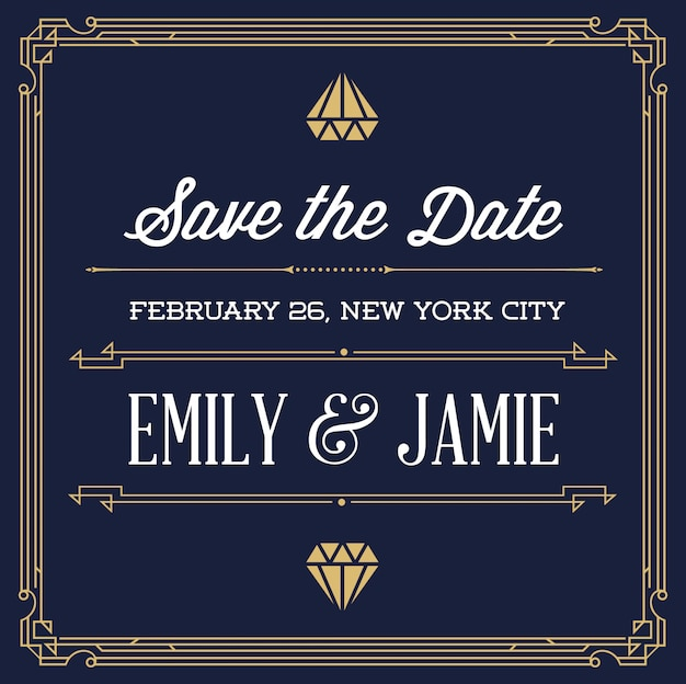 Vintage style invitation for wedding save the day in art deco or nouveau gangster era