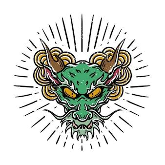白い背景の上のビンテージスタイルの日本のドラゴンの頭のタトゥーのイラスト