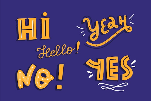 Vintage style of lettering expressions and onomatopoeia