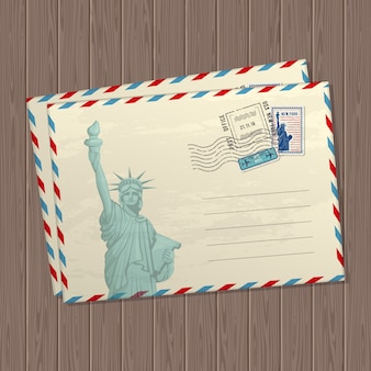 Vintage style letters with the statue of liberty, marks and stamps of usa