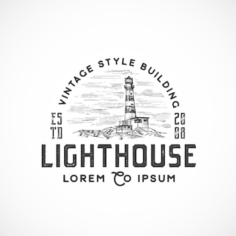 Vintage style lighthouse abstract sign, symbol or logo