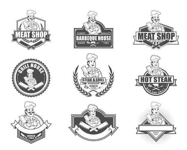 肉屋やステーキレストランのビンテージスタイルのロゴデザイン