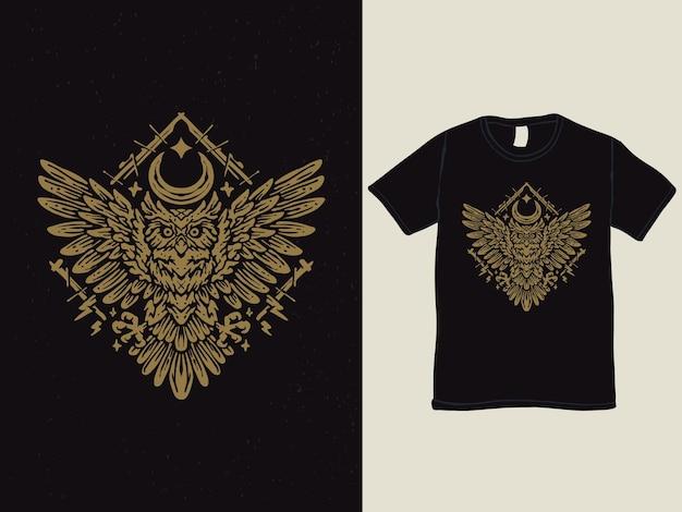 Vintage style owl moon tshirt design
