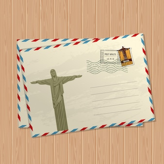 Vintage style postcard with statue of jesus christ, marks and stamps of brazil