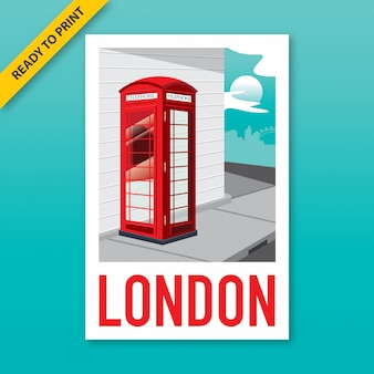 Vintage style poster, sticker and postcard design of a red telephone booth on the corner of london street.