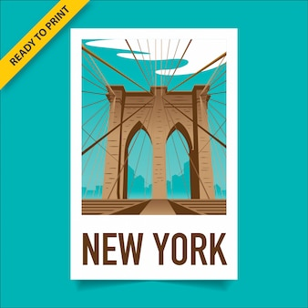 Vintage style poster, sticker and postcard design with the view of brooklyn bridge, in manhattan and new york skyline in the background, polaroid film style poster.