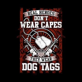 ヴィンテージスタイルリアルヒーローズ犬のタグを着用
