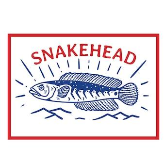 빨간색 사각형 프레임과 흰색 배경이 있는 빈티지 스타일 빨간색 파란색 뱀머리 물고기 로고