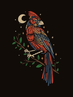 Vintage style red cardinal bird illustration