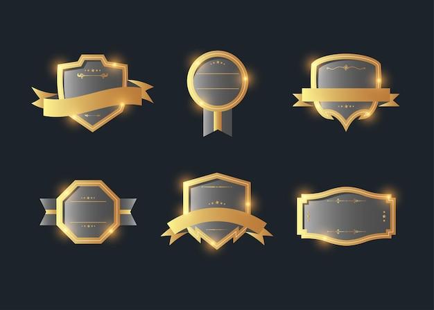Collezione di etichette emblema retrò stile vintage. elementi di design su oscurità.