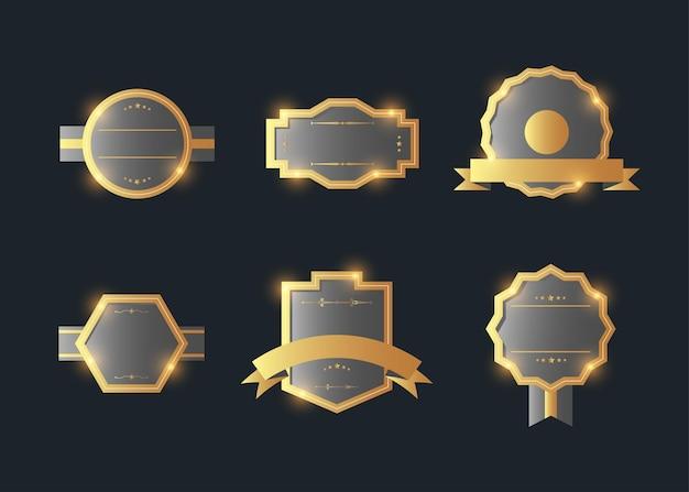 ヴィンテージスタイルのレトロなエンブレムラベルコレクション。暗闇の中でデザイン要素。