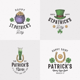Vintage style saint patricks day logo or label templates set.