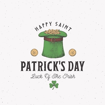 Vintage style saint patricks day logo or label