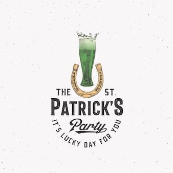 Винтажный стиль день святого патрика логотип или этикетка
