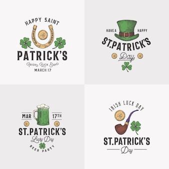 빈티지 스타일의 성 패트릭 데이 로고 또는 레이블 템플릿은 손으로 그린 레프러콘 모자 동전 맥주를 설정합니다...