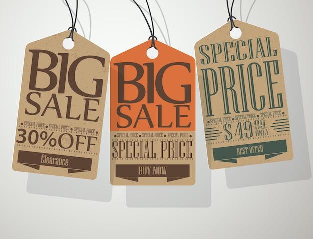 빈티지 스타일 판매 라벨 및 태그