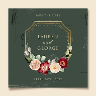 Vintage style save the date with floral frame watercolor