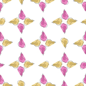 ベージュとピンクのフルーツ梨の形をした幾何学的なスタイルのビンテージスタイルのシームレスなパターン