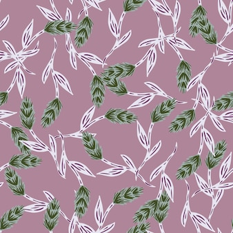 Vintage style seamless pattern with green random ear of wheat elements. pastel purple background. graphic design for wrapping paper and fabric textures. vector illustration.