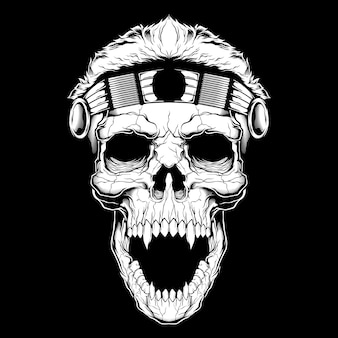 Vintage style skull face isolated