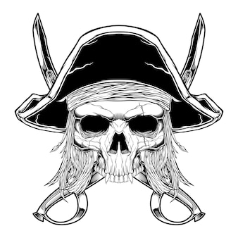 Vintage style skull pirate isolated