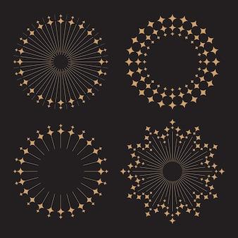 Винтажный стиль солнечных лучей с алмазным блеском плоский векторный дизайн изолирован