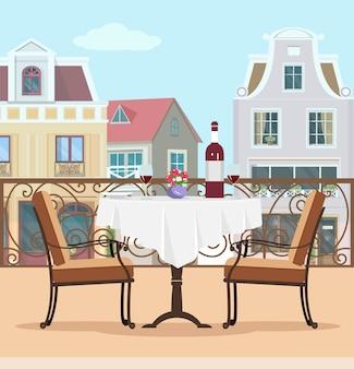 テーブルと椅子のあるビンテージスタイルベクトルバルコニー。テラスと街の背景のカラフルなグラフィックフラットコンセプト。